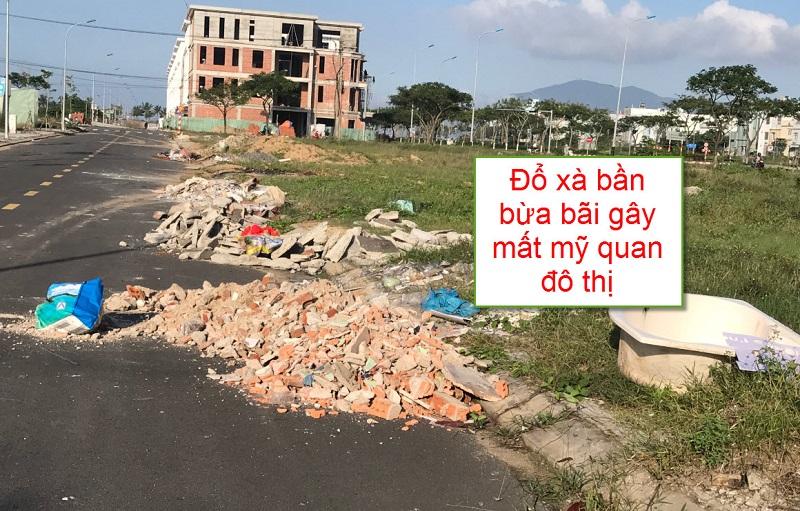 Đổ xà bần bừa bãi gây mất mỹ quan đô thị
